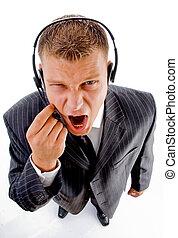 kiabálás, ember, hívás, telefon