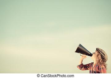 kiabálás, hangszóró, át, kölyök