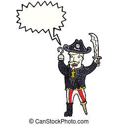 kiabálás, kapitány, karikatúra, kalóz