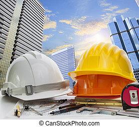 kialakulás, városi, alkalmaz, vidék, dolgozó, scrapper, ég, színhely, ellen, téma, építészet, asztal, konstruál, foglalkozás