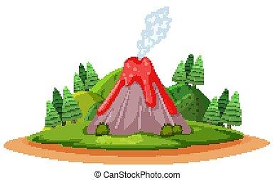 kibújik, mód, karikatúra, vulkán, forst, dohányzik
