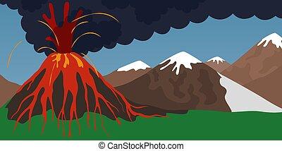 kibújik vulkán, természetes csapás, concept., láva, hányó