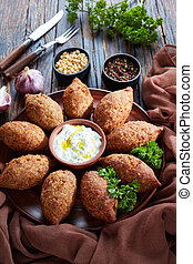 kibbeh of ground beef meat, top view