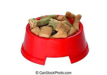 Red bowl with kibble for dogs - isolated on white background