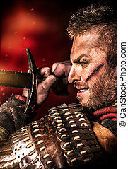 kick blade - Portrait of a courageous ancient warrior in...