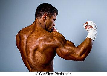 kick-boxer training before fight.Kickboxing or muay thai