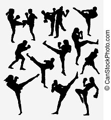 Kick boxing, martial art sport silhouette