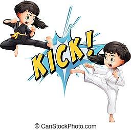 Kick flash - Girls kicking with flash on white