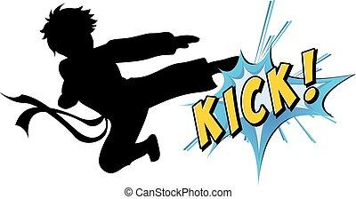 kick - Kicking action with text on white