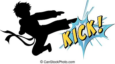 Kicking action with text on white