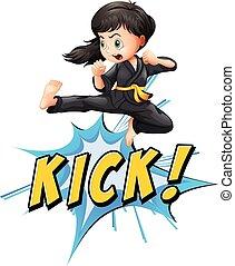 Kick logo - Karate kik with girl and wording