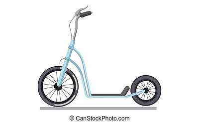 Kick scooter or push bike vehicle vector isolated icon -...