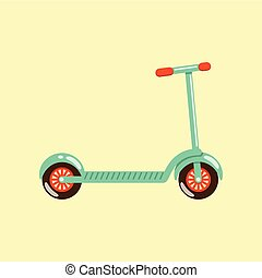 Kick scooter vector illustration isolated on beige background.