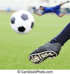 kick soccer ball in goal with loss goalmam