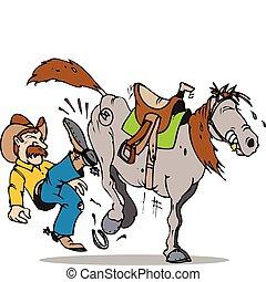 kick start horse - cowboy kicking his stubborn horse
