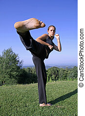 kick - sole kick- attractive young woman practicing self...