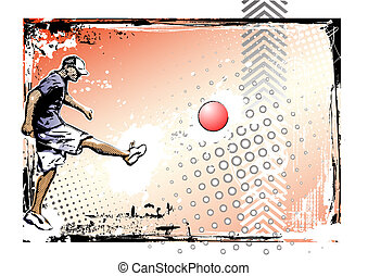 kickball poster - illustration of the kickball player