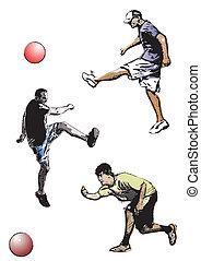 kickball trio - illustration of kickball players