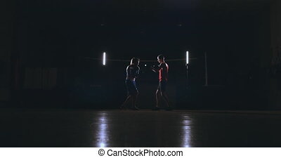 kickboxer woman athlete kickboxing coach training female...