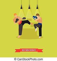 Kickboxers fighting, flat design