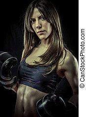 Kickboxing, Female Athlete with boxing gloves