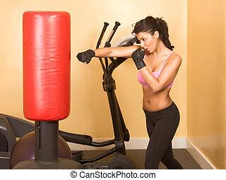 kickboxing, kvinnlig, övning