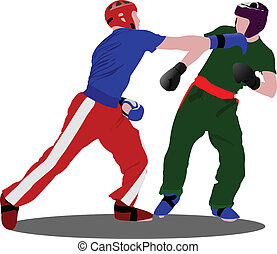 Kickboxing. The sportsman in a position. Oriental combat...