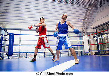Kickboxing. Two kickboxers fighting on the boxing ring