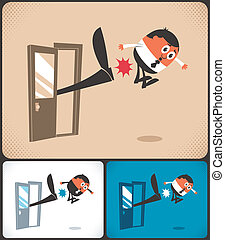Kicked Out - Man being kicked out. The illustration is in 3 ...