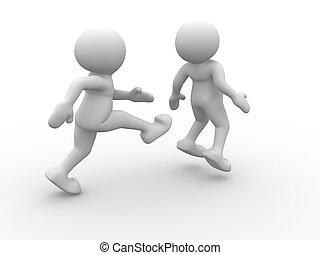 Kicking behind - Human character kicking in the behind the...