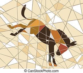 Kicking donkey - Editable vector mosaic illustration of a...