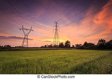 kickspänning, elektrisk, torn, och, vacker, soluppgång