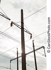kickspänning, elektrisk, tower., driva, concept., med, moln, sky