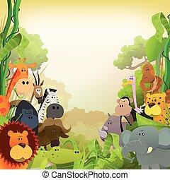 kicsapongó élet, állatok, háttér, afrikai