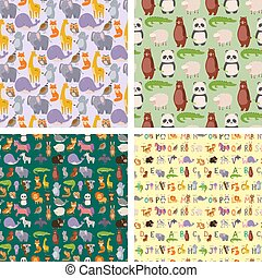 kicsapongó élet, állatok, színes, természet, motívum, tapéta, seamless, struktúra, karikatúra, vektor, dzsungel, háttér, madár, retro