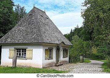 kicsi épület, gyalogút, németország, cobblestone