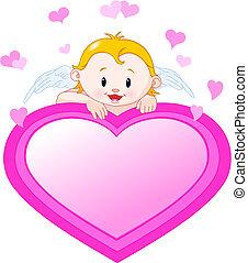 kicsi angel, és, kedves, szív