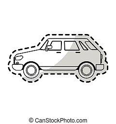 kicsi autó, sideview, kép, ikon