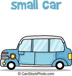 kicsi autó, szállít, gyűjtés