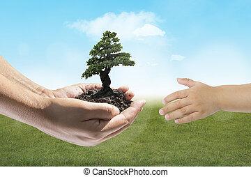 kicsi, berendezés, emberi, hatalom kezezés
