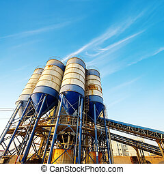 kicsi, cement gyár, alatt, kék ég