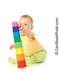 kicsi, csecsemő, játékszer, piramis