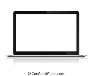 kicsi, elülső, laptop computer, kilátás