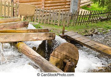 kicsi, fából való, waterwheel