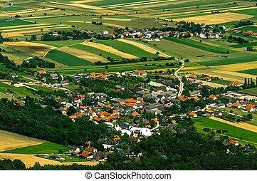 kicsi, falu, felülnézet