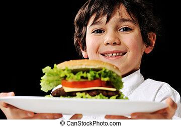 kicsi fiú, ajánlat, egy, hamburger, képben látható, tányér