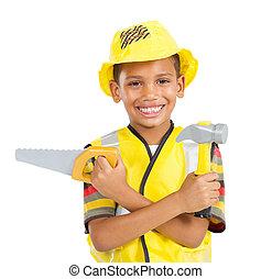 kicsi fiú, alatt, építő, egyenruha