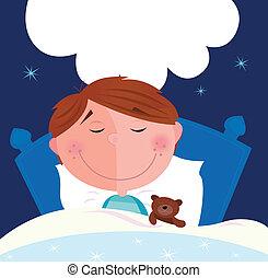 kicsi, fiú, alvás, ágyban