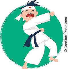 kicsi fiú, cselekedet, karate