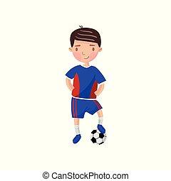kicsi fiú, játék futball, gyerekek, fizikai activity, karikatúra, vektor, ábra